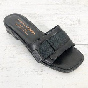 Donald J. Pliner Black Leather Stitched Velcro Str